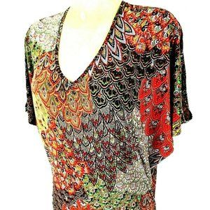 Hypnotized Tops - Hypnotized womens S red BATWING ruched top (X)E1
